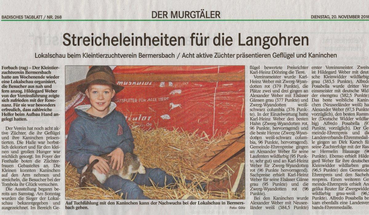 Kleintierzuchtverein Lud Zur Lokalschau Ein