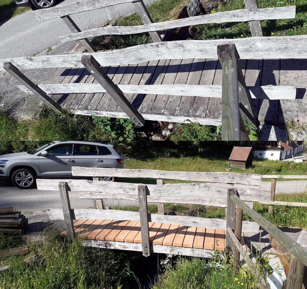 Trittbohlen An Der Brücke Zur Mühle Erneuert
